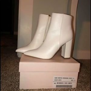 Faux leather white booties